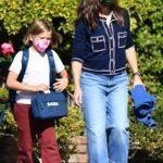 Jennifer Garner in a Blue Jeans Picks up Her Son Sam from School in Brentwood