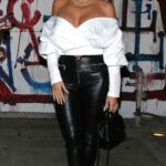 Larsa Pippen in a White Blouse Leaves Craig's in West Hollywood