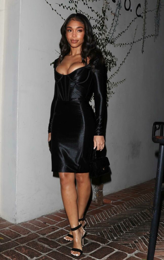 Lori Harvey in a Black Dress