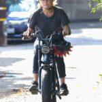 Malin Akerman in a Black Tee Does a Solo Ride on Her Super73 Electric Bike in Los Feliz
