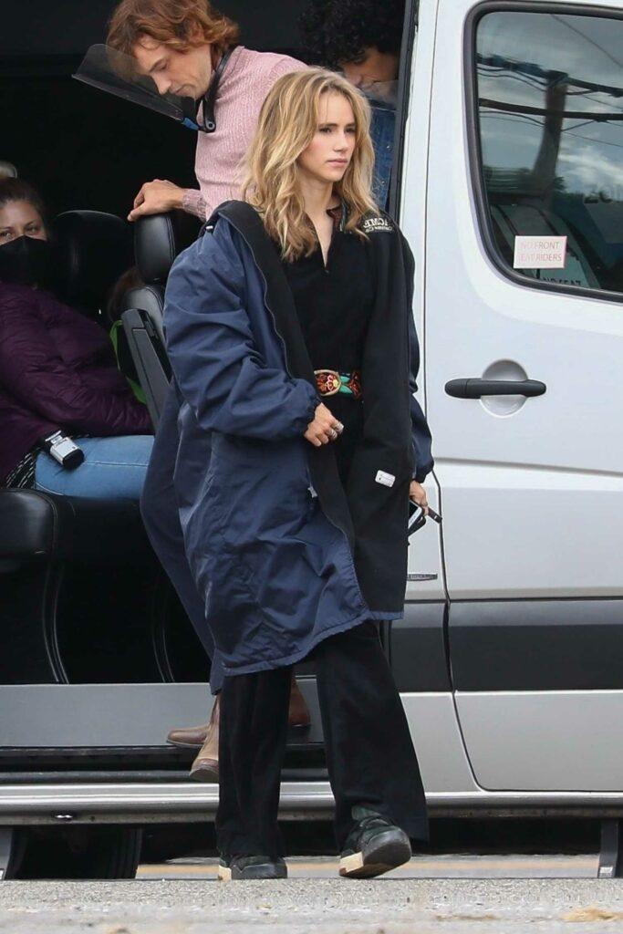 Suki Waterhouse in a Black Coat