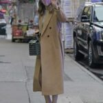 Sutton Foster in a Beige Coat Arrives at Good Morning America Morning Show in New York