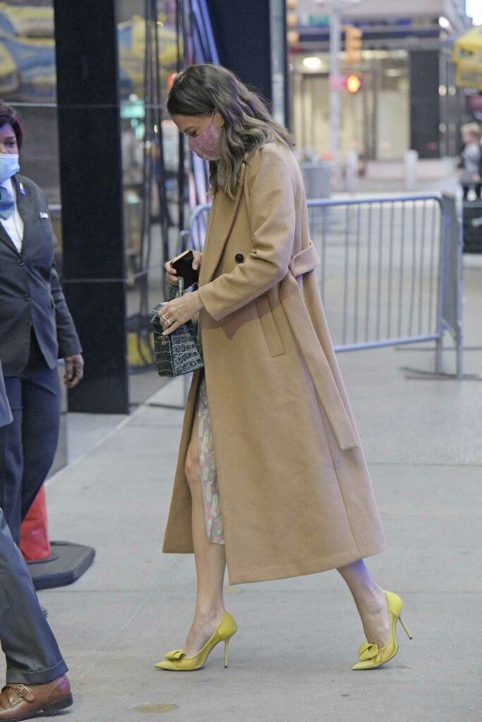 Sutton Foster in a Beige Coat