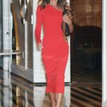 Victoria Beckham in a Red Dress Leaves Her Hotel in New York