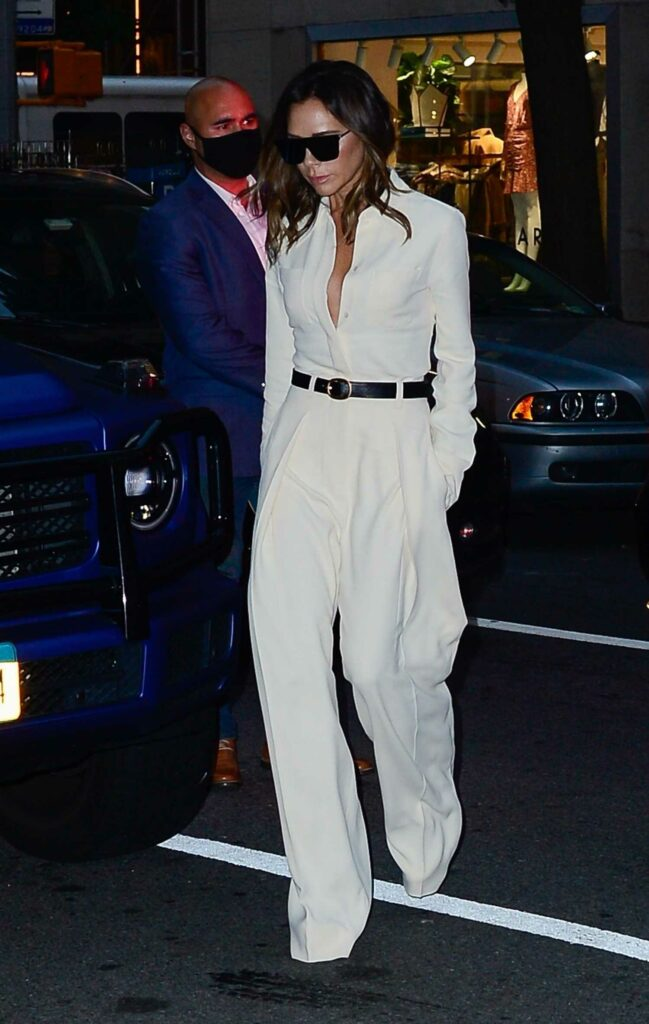 Victoria Beckham in a White Pantsuit