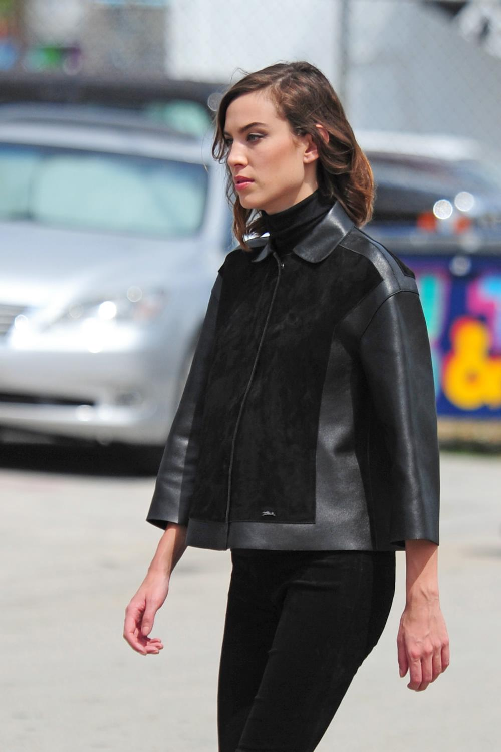 Alexa Chung Seen Working On A Photoshoots Around Miami Art District-1