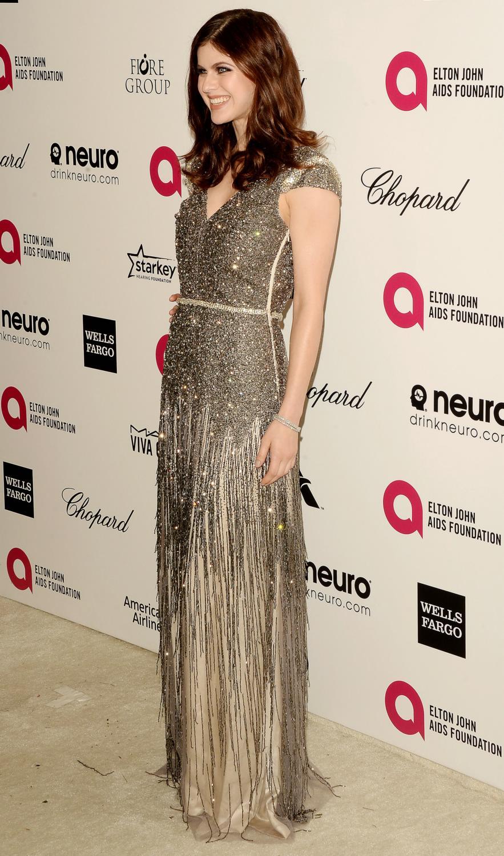 Alexandra Daddario arrives at Annual Elton John Party-1