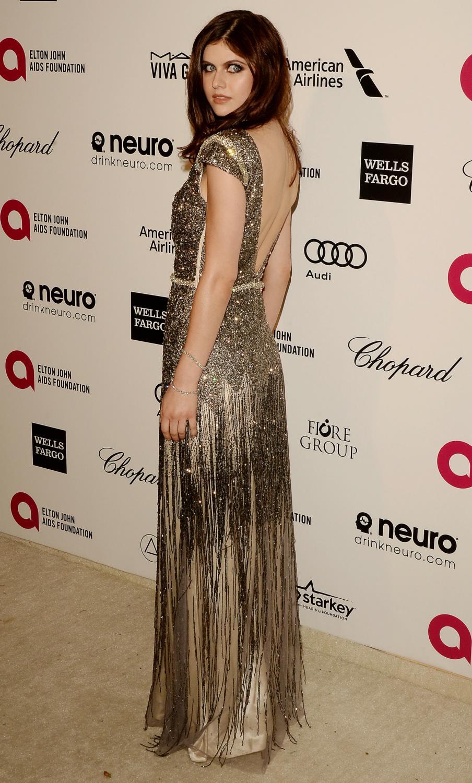 Alexandra Daddario arrives at Annual Elton John Party-3