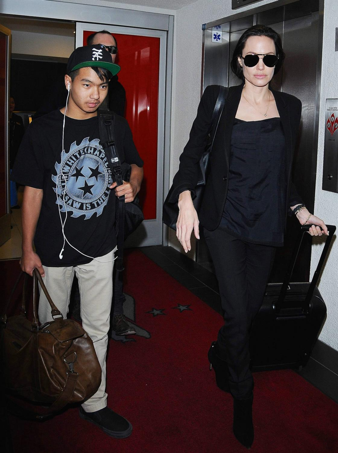 Angelina Jolie and her son Maddox Arrive at LAX Airport-3