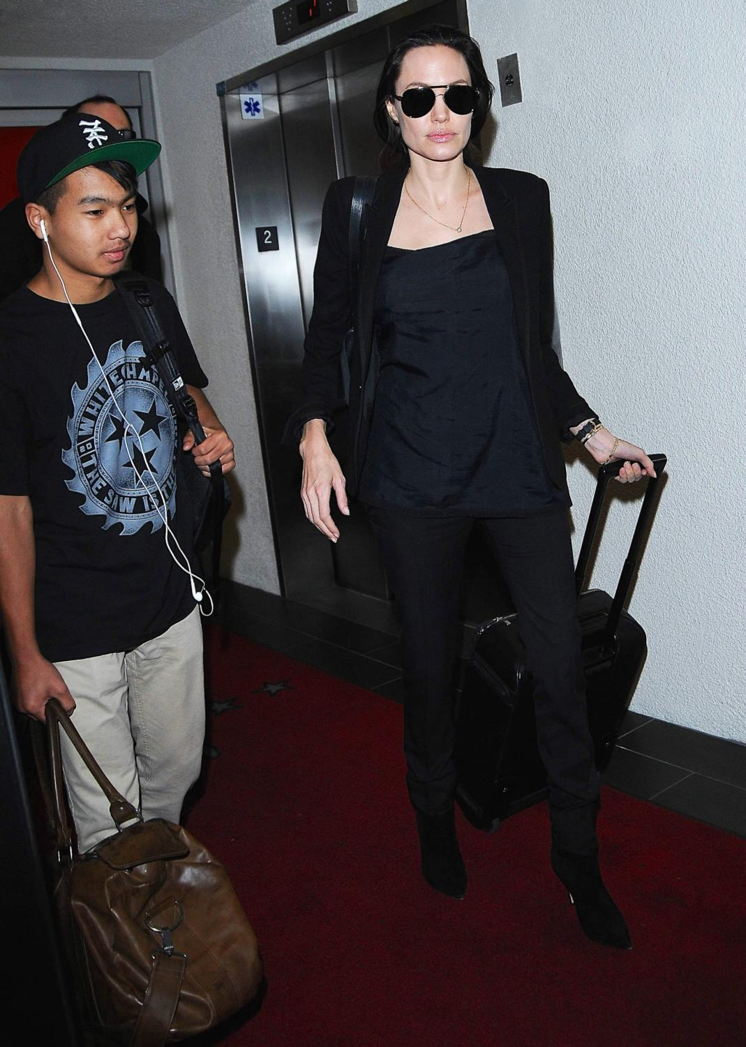 Angelina Jolie and her son Maddox Arrive at LAX Airport-4