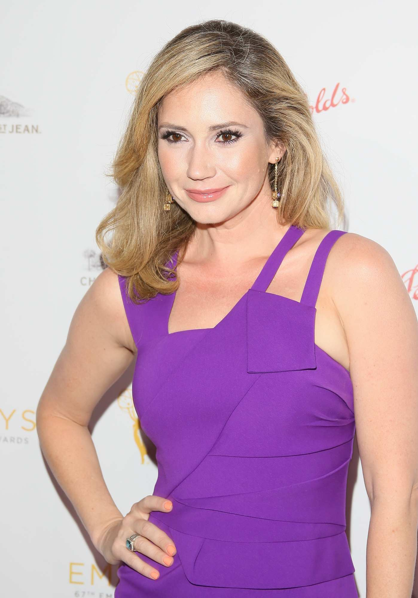 Ashley Jones Looks Great in Purple Dress Arrives at Cocktail Reception ...