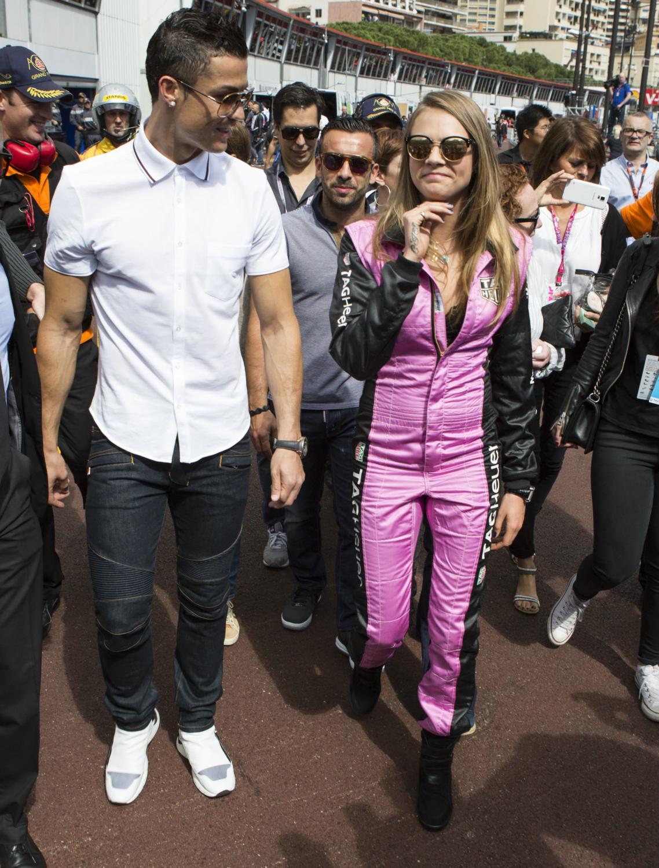 Cara and Poppy Delevingne with Cristiano Ronaldo at Monaco Grand Prix ... Eva Longoria