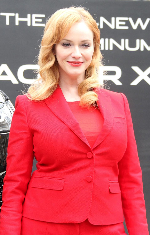 Christina Hendricks Looks Red Hot at Jagaur Auto Show-2