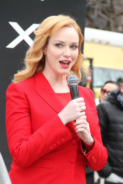 Christina Hendricks Looks Red Hot at Jagaur Auto Show-3