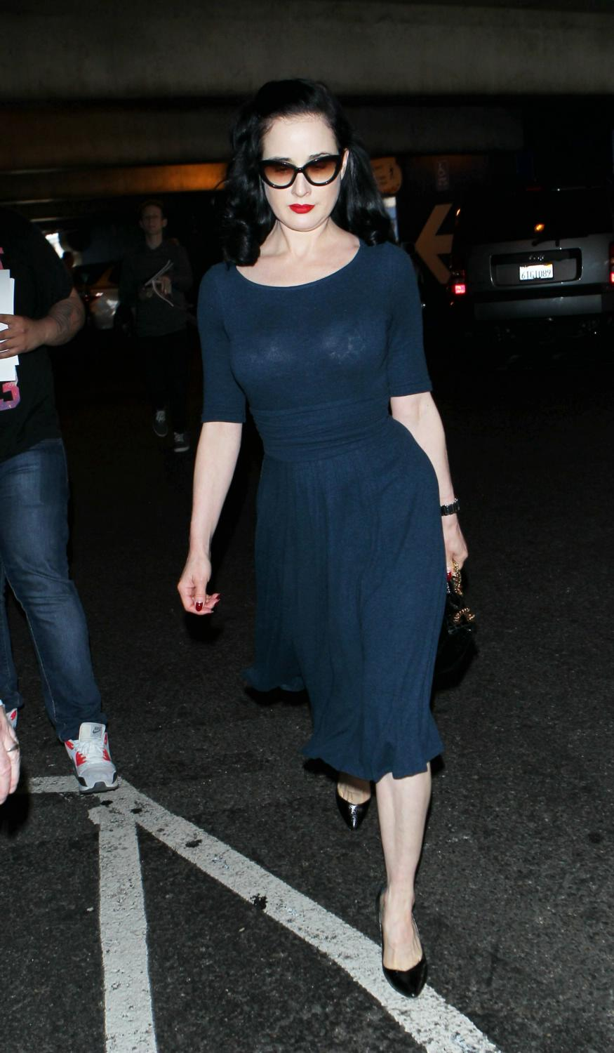 Dita Von Teese Arrives at LAX Airport-1