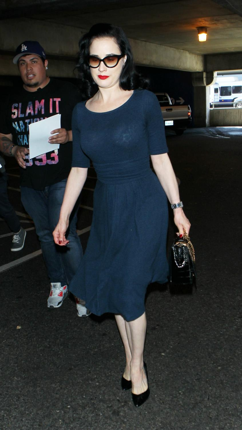 Dita Von Teese Arrives at LAX Airport-2