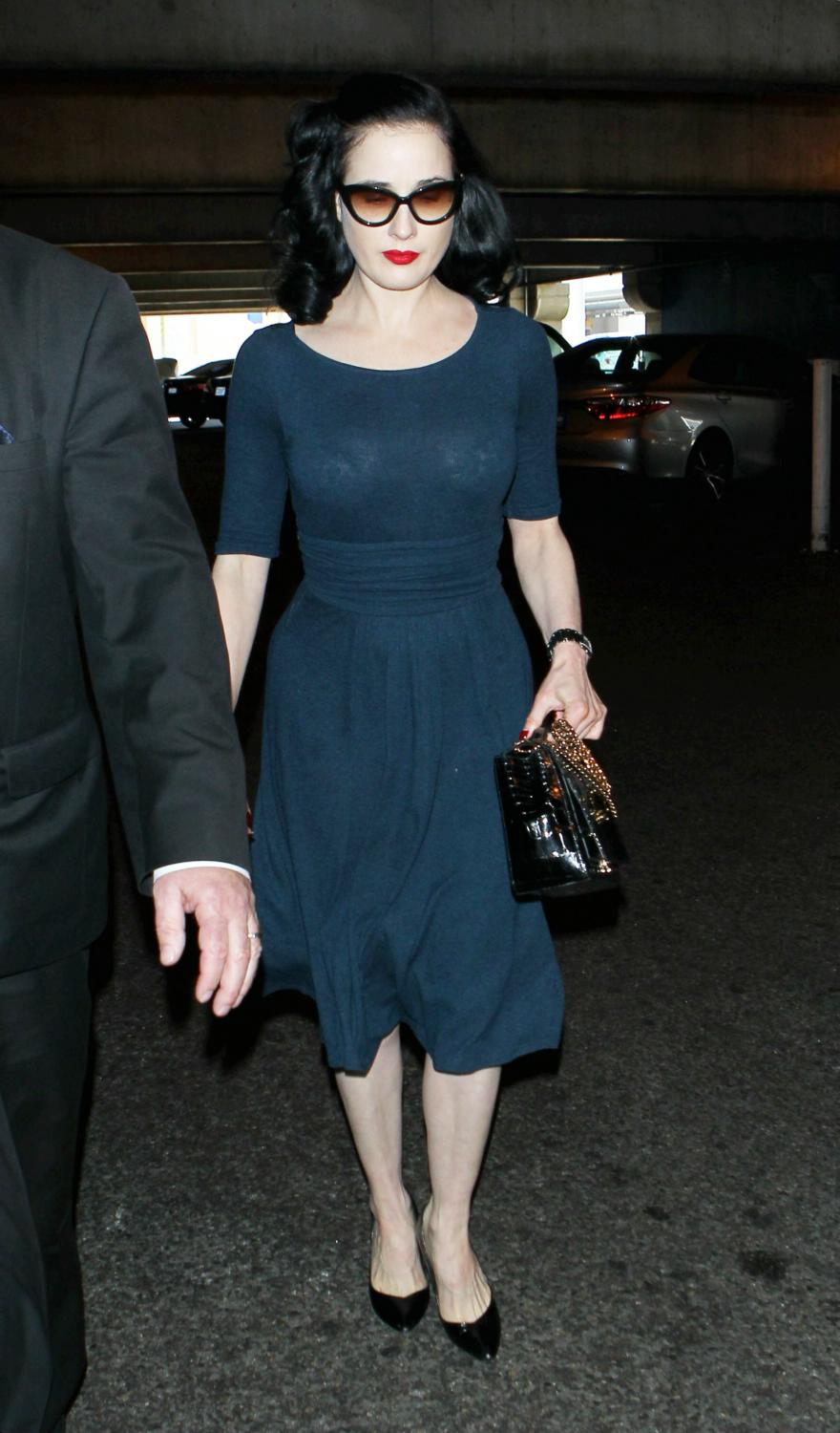 Dita Von Teese Arrives at LAX Airport-3