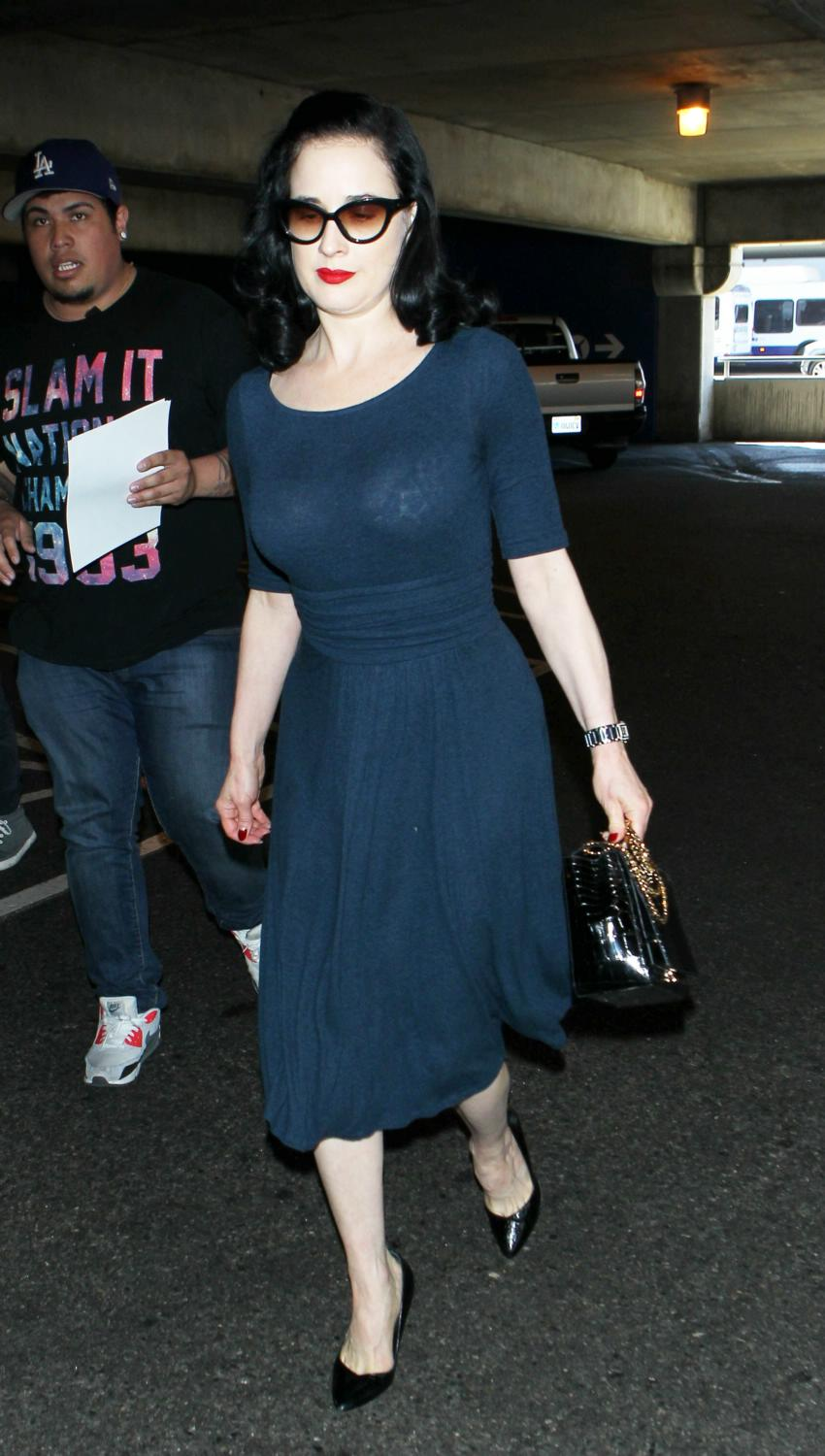 Dita Von Teese Arrives at LAX Airport-4