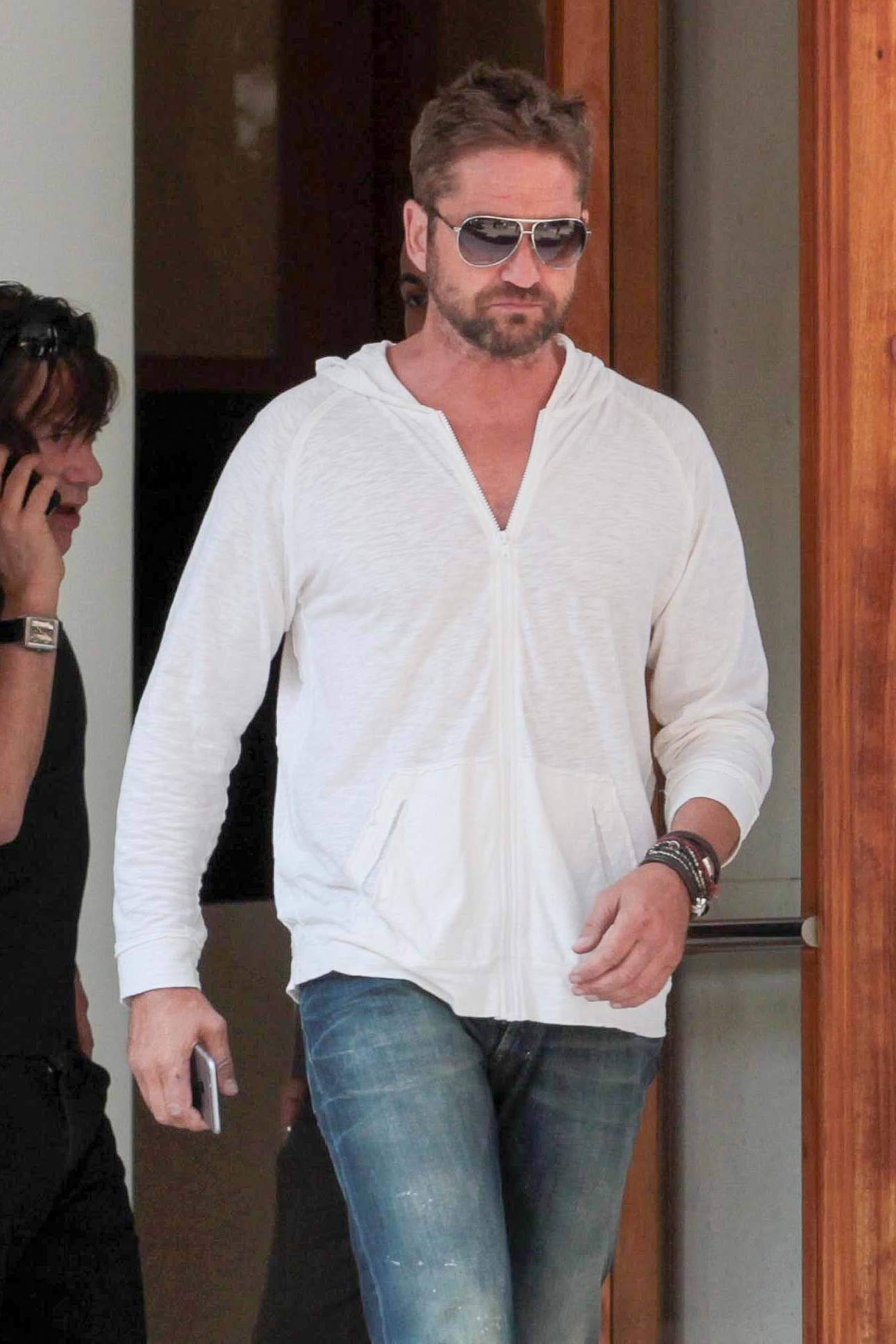 Gerard Butler Hangs Out With Friend Before Lunch