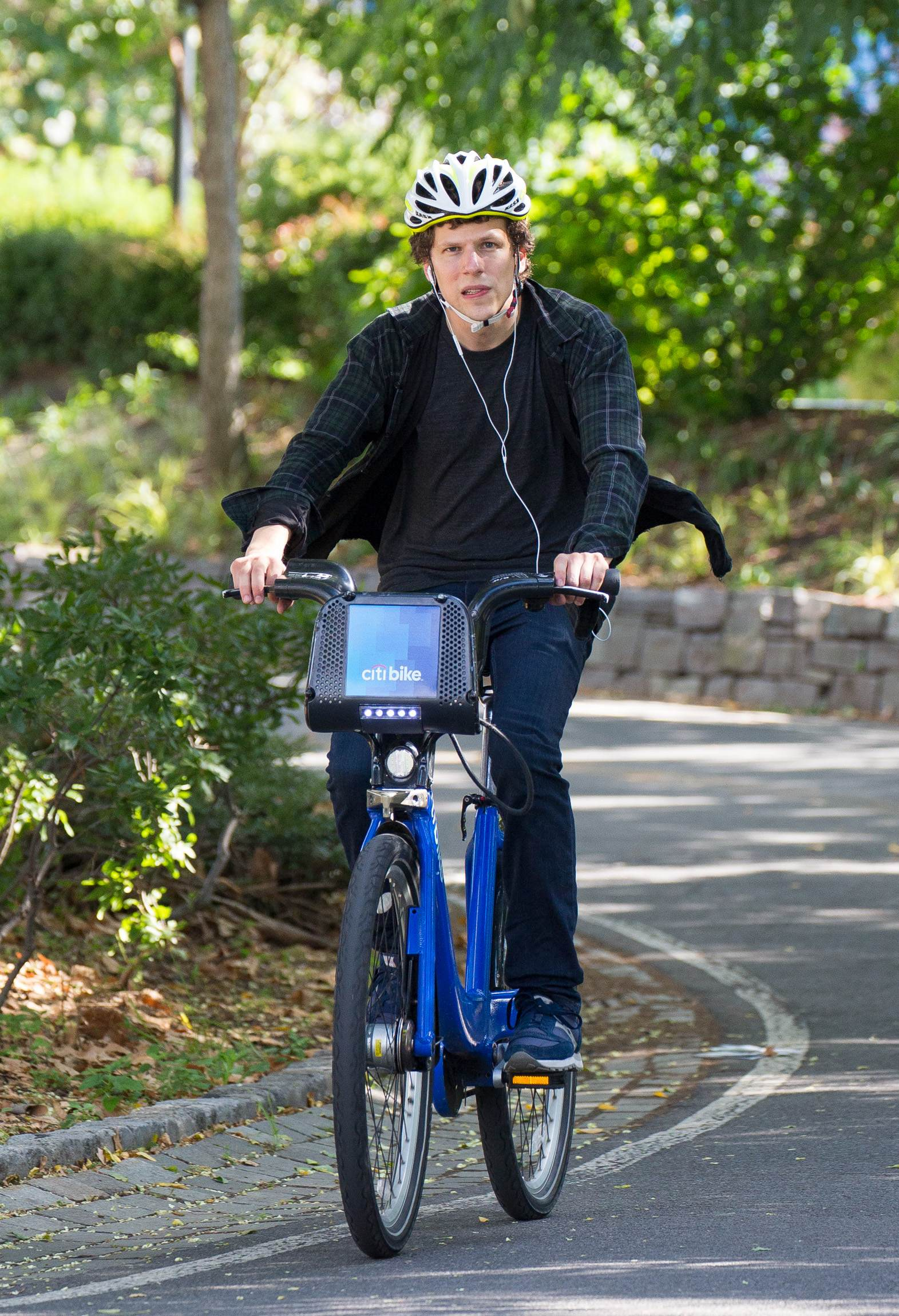 Jesse Eisenberg riding Citi Bike on Hudson River Park-3