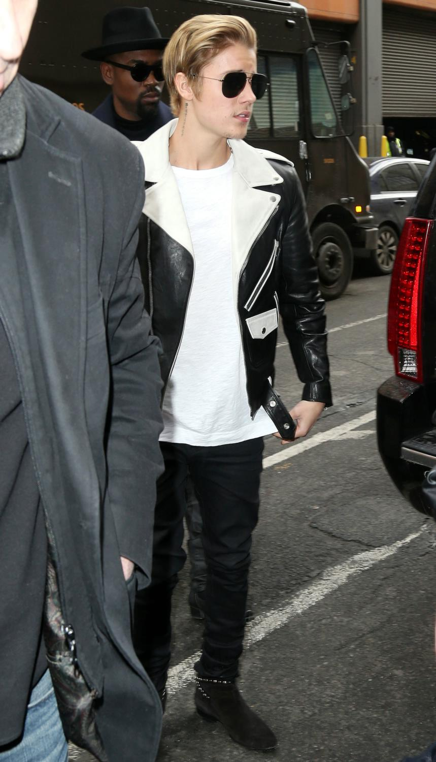 Justin Bieber Arrives At Kanye West Adidas Originals Yeezy Boost sneakers launch-1