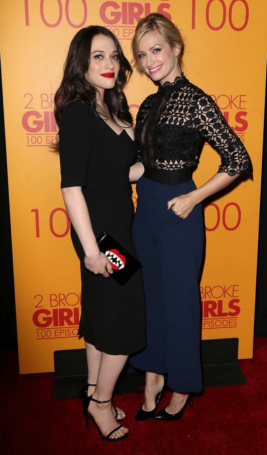 Kat Dennings and Beth Behrs at episode celebration of CBS Broke Girls