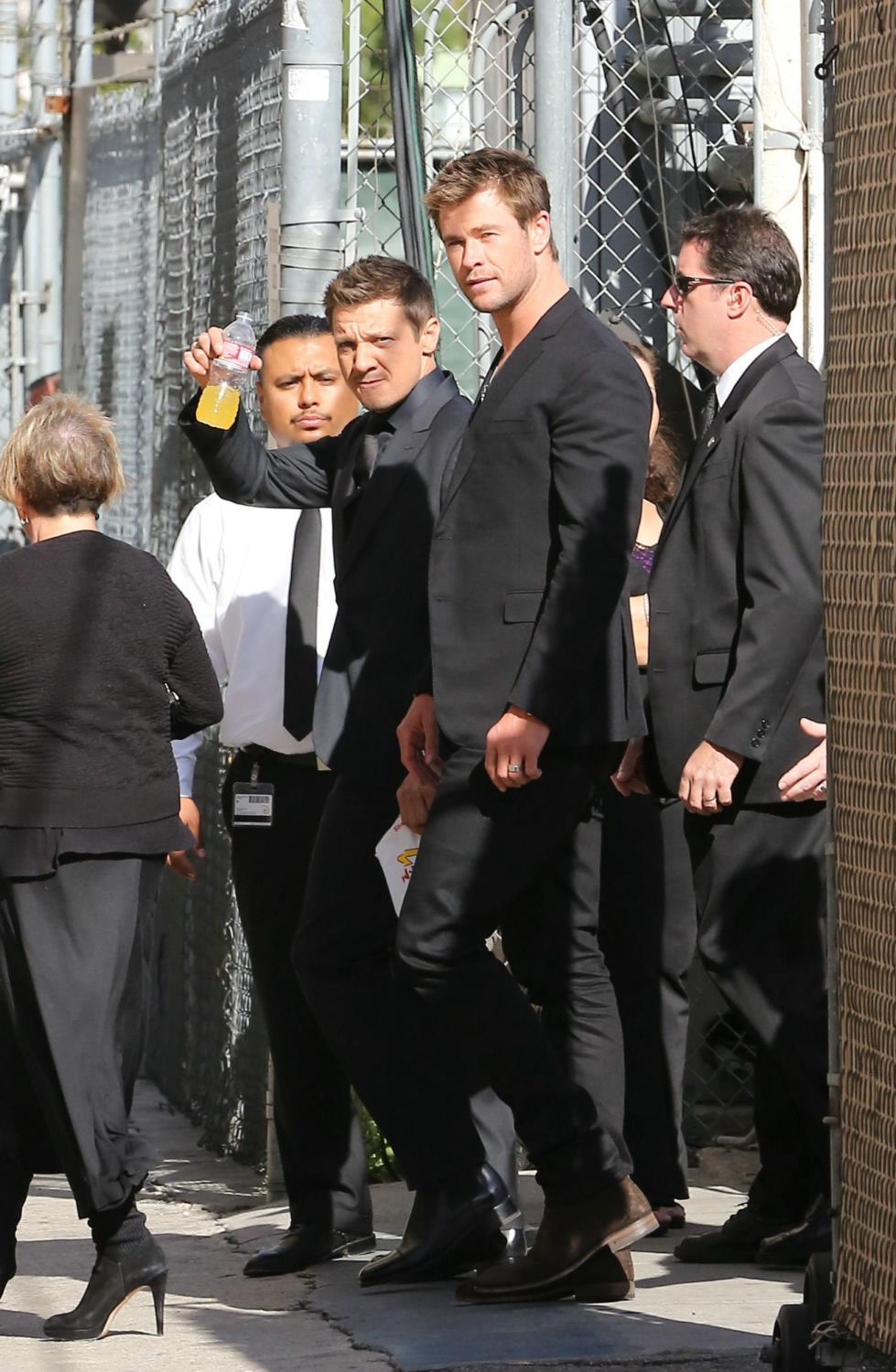 Mark Ruffalo, Chris Hemsworth and Jeremy Renner at Jimmy Kimmel Live-1