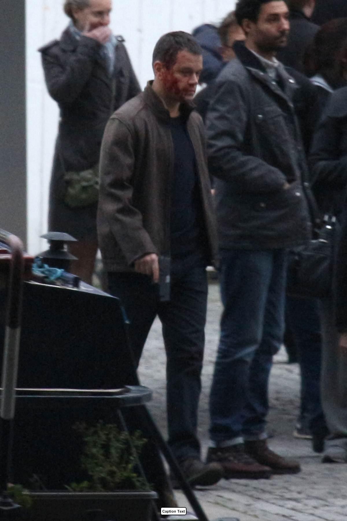 Matt Damon Looking Bruised and Bloody As He Films Bourne in London-1