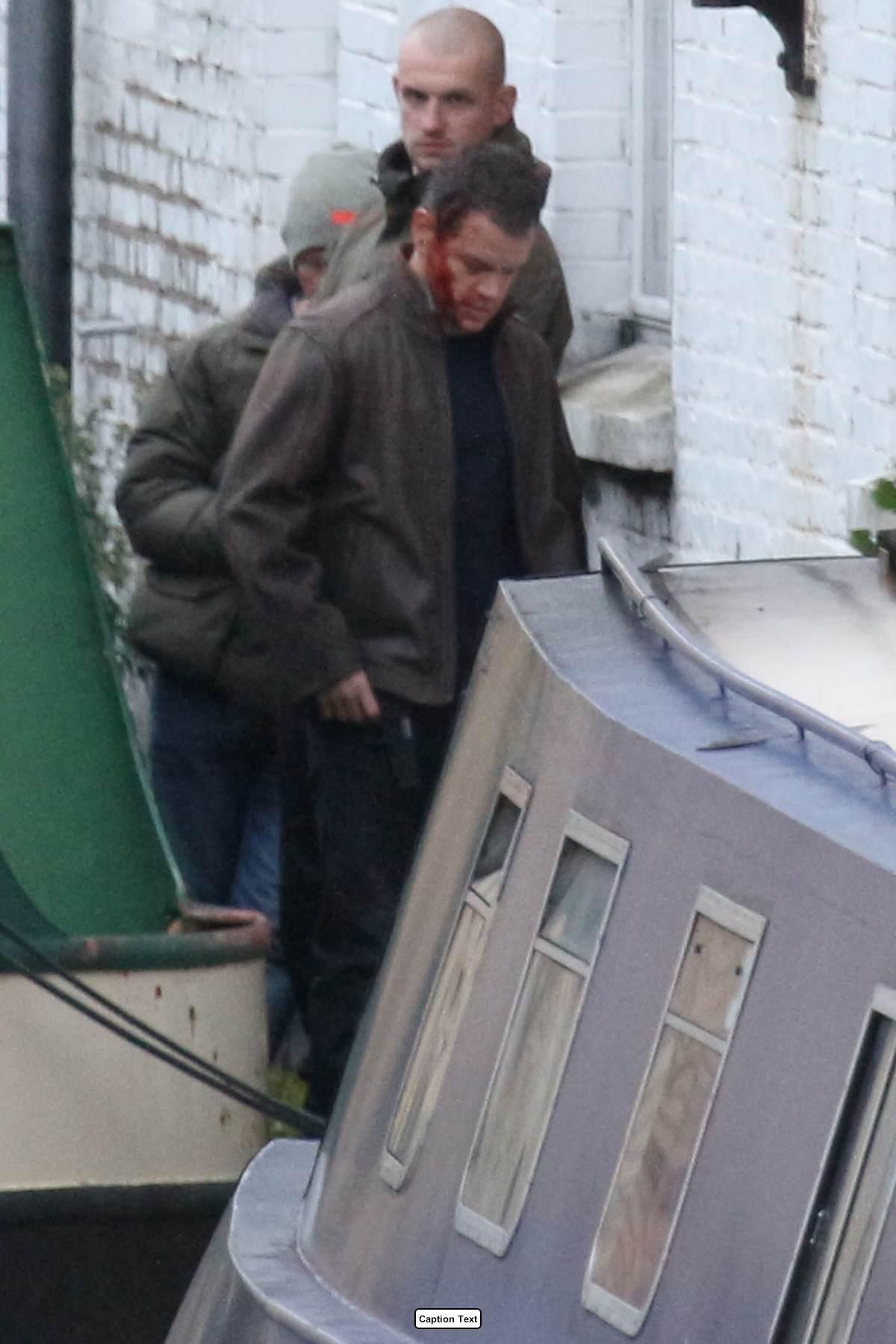 Matt Damon Looking Bruised and Bloody As He Films Bourne in London-3