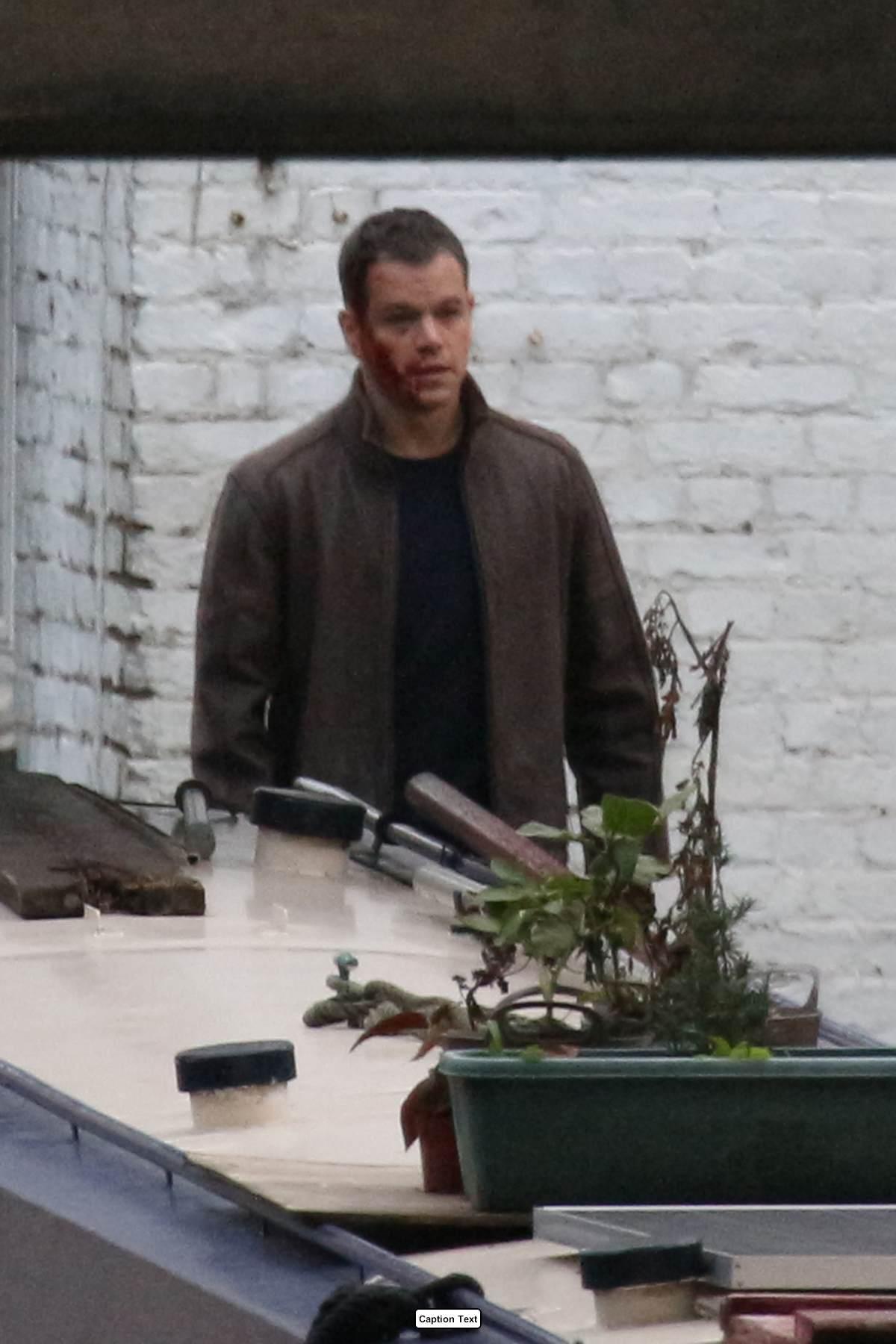 Matt Damon Looking Bruised and Bloody As He Films Bourne in London-4