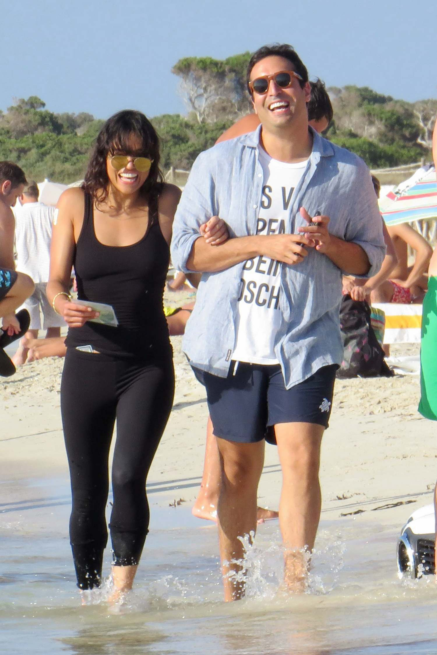 Michelle Rodriguez Walks On Beach in Formentera-1