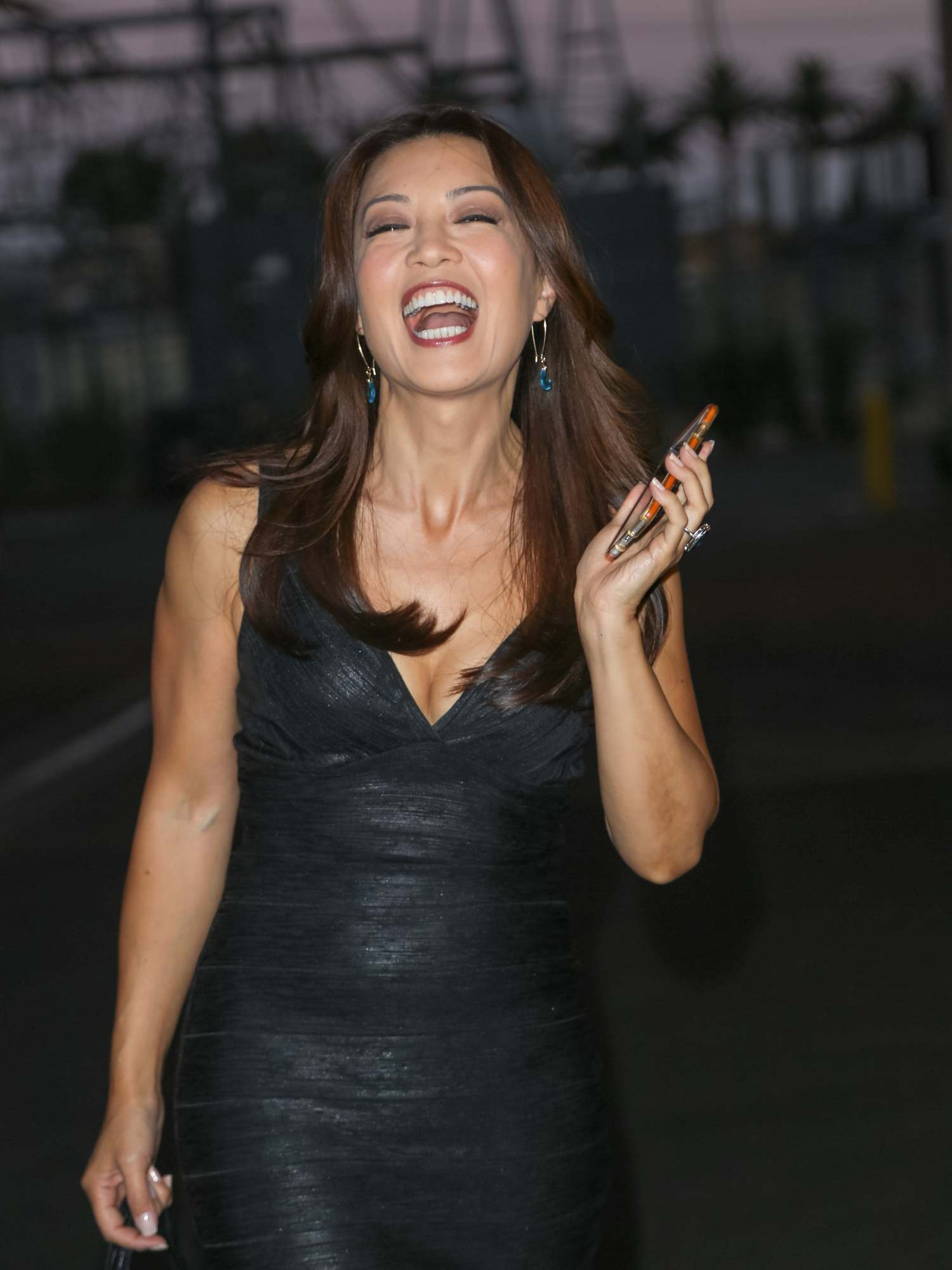 Ming-Na Wen Looks Pretty As She Walks Up To The Lot Studio-1