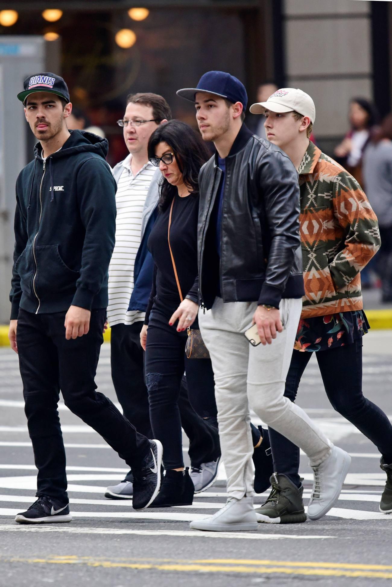 Nick Jonas and Joe Jonas Family Outing on Fifth Avenue-1