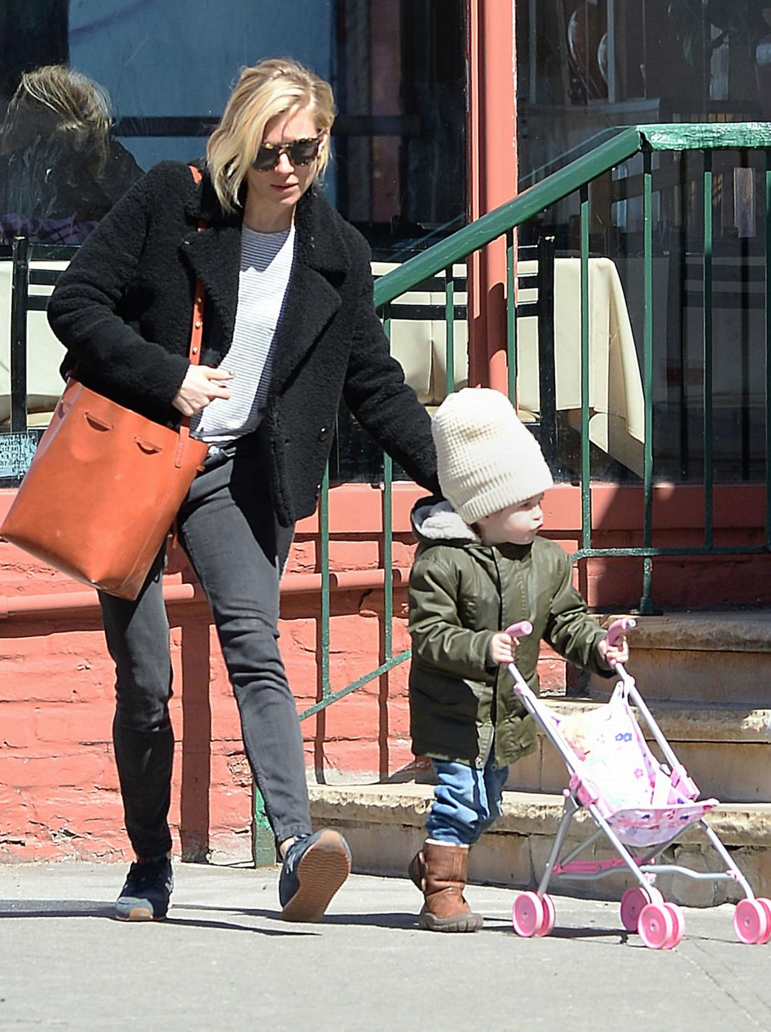Sienna Miller with Daughter and Husband in West Village-1