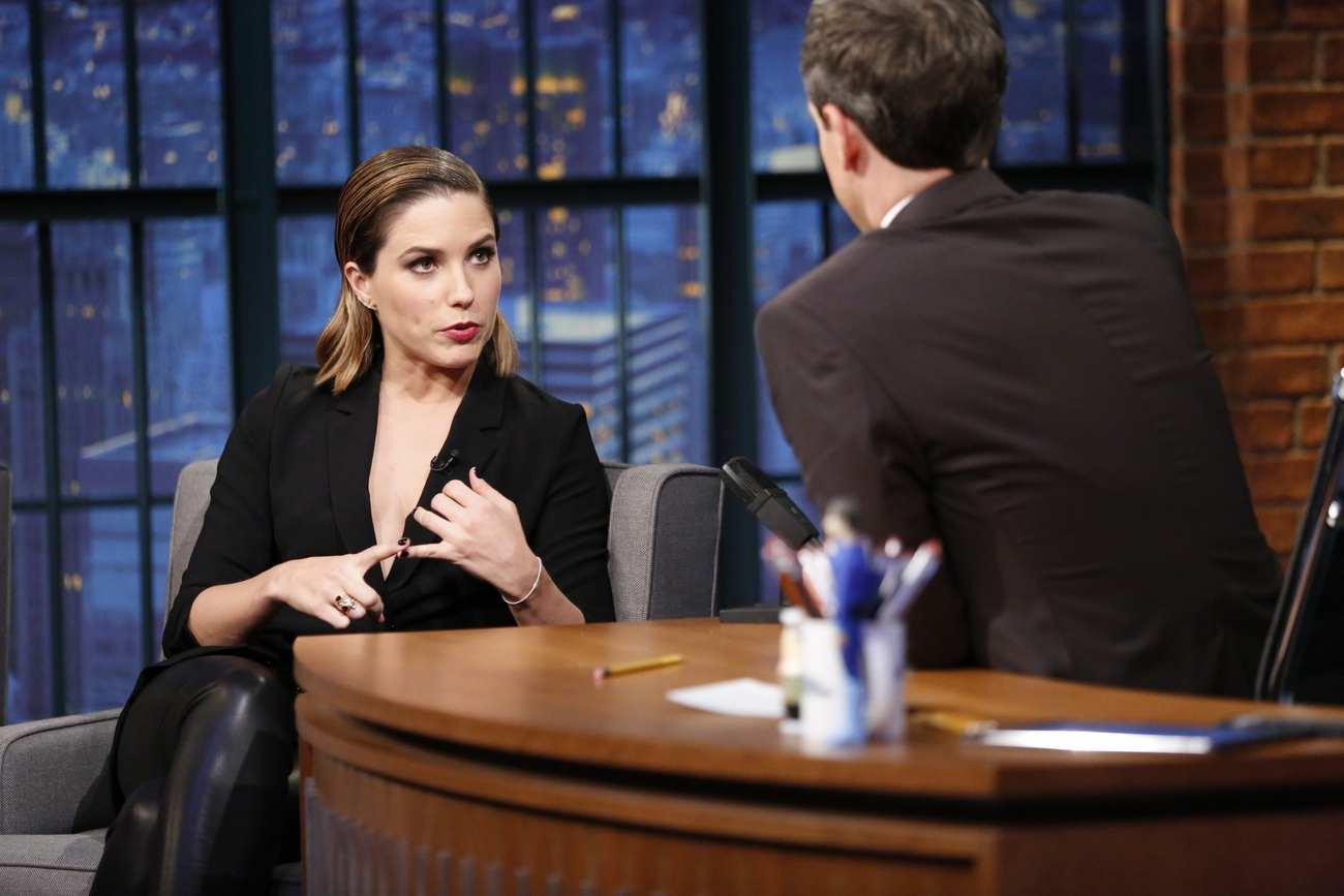 Sophia Bush Interviews With Seth Meyers-3
